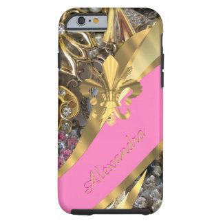 パーソナライズされたでシックでエレガントな金ゴールドおよびピンクのきらきら光る ケース