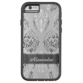 パーソナライズされたでシックでエレガントな銀製灰色のダマスク織 TOUGH XTREME iPhone 6 ケース