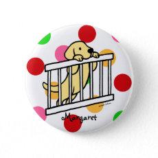 パーソナライズされたで黄色いラブラドルの子犬の漫画 ピン