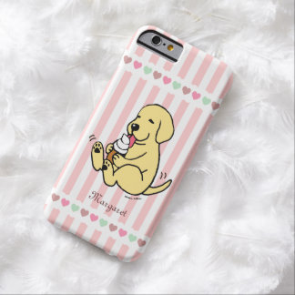 パーソナライズされたで黄色いラブラドールのアイスクリームの夢 BARELY THERE iPhone 6 ケース