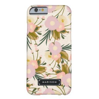 パーソナライズされたなシックでガーリーなレトロの花の薄紫及びモモ BARELY THERE iPhone 6 ケース