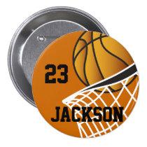パーソナライズされたなバスケットボールのデザイン 缶バッジ