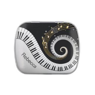 パーソナライズされたなピアノ鍵および金ゴールド音楽ノート キャンディー缶