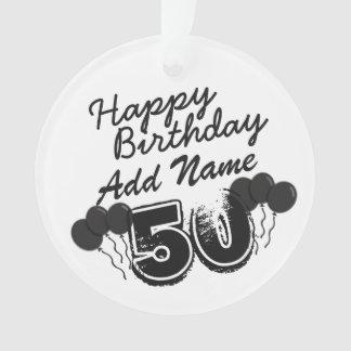 パーソナライズされたな名前50 yr Bdayの黒第50誕生日 オーナメント