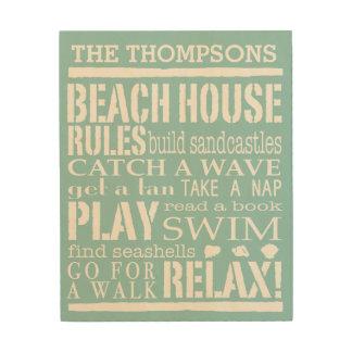 パーソナライズされたな家族のビーチハウスの規則 ウッドウォールアート