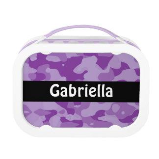 パーソナライズされたな紫色のカムフラージュのお弁当箱 ランチボックス