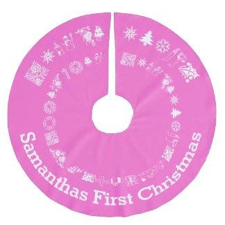 パーソナライズされたな赤ん坊の初めてのクリスマス ブラッシュドポリエステルツリースカート