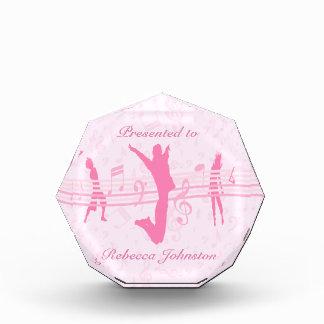 パーソナライズされたな音楽ダンスおよび戯曲ピンク 表彰盾