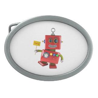 パーティの印が付いている踊る赤いおもちゃのロボット 卵形バックル