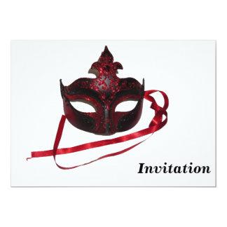 パーティの招待状-赤いベニス風のマスク カード