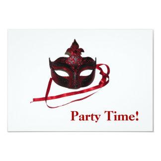 パーティの招待状-赤いマスク カード