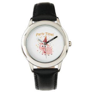 パーティの時間紙吹雪のブタ 腕時計