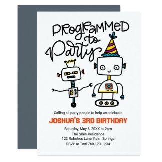 パーティを楽しむためにプログラムされるロボット カード