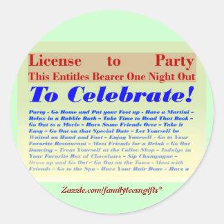 パーティを楽しむ免許証 ラウンドシール