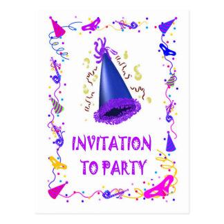 パーティを楽しむ招待状 ポストカード