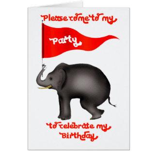パーティを楽しむ招待状。 象および長旗 カード
