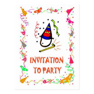 パーティを楽しむ招待状poppers ポストカード