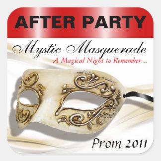 パーティーのステッカーの後の仮面舞踏会のプロム 正方形シールステッカー