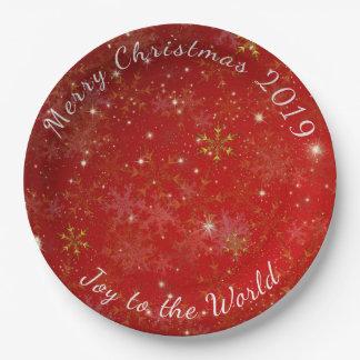 パーティーのプレートと日付を記入される赤い雪片のメリークリスマス ペーパープレート