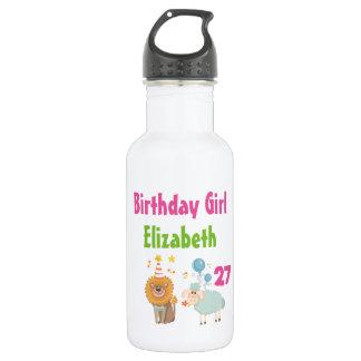 パーティーのライオンおよび気球のヒツジを持つ誕生日の女の子 ウォーターボトル
