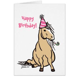 パーティーの子馬の女の子のバースデー・カード カード