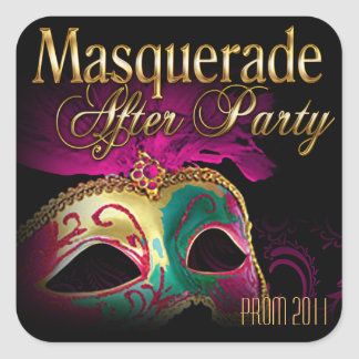 パーティーの後のプロム2011の仮面舞踏会 正方形シール・ステッカー