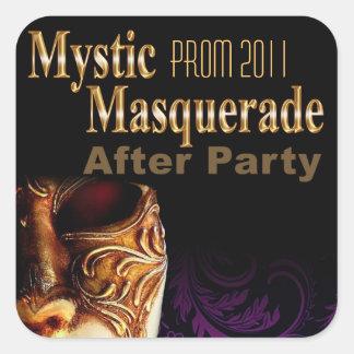 パーティーの後のプロム2011の神秘的な仮面舞踏会 正方形シール・ステッカー
