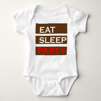 パーティーの文字の知恵のおもしろいなおもしろいは睡眠の楽しむなギフトを食べます ベビーボディスーツ