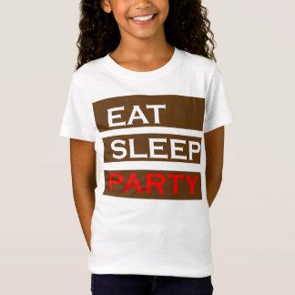 パーティーの文字の知恵のおもしろいなおもしろいは睡眠の楽しむなギフトを食べます Tシャツ