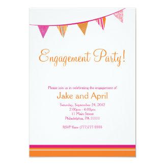 パーティーは婚約パーティに-ピンク及びオレンジ印を付けます 12.7 X 17.8 インビテーションカード