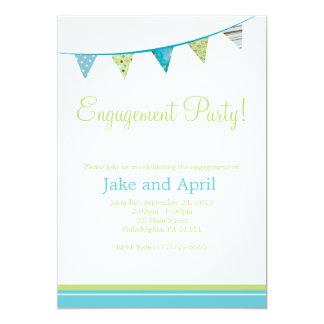 パーティーは婚約パーティに-緑及び青印を付けます 12.7 X 17.8 インビテーションカード