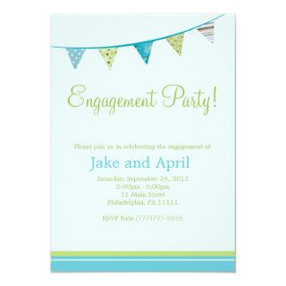パーティーは婚約パーティ-青--に印を付けます 12.7 X 17.8 インビテーションカード