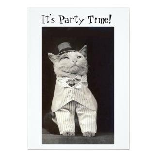 パーティー猫の招待状カード カード