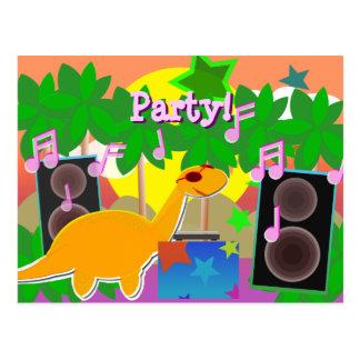 パーティーDJの恐竜の郵便はがき ポストカード