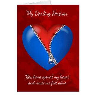 パートナー、ジッパーHが付いているモダンなバレンタインデーカード カード