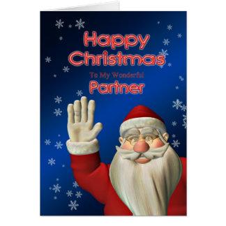 パートナー、彼のそりのサンタへのメリークリスマス カード