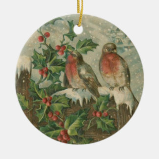ヒイラギおよびキヅタの鳥のクラシックなヴィンテージのオーナメント 陶器製丸型オーナメント