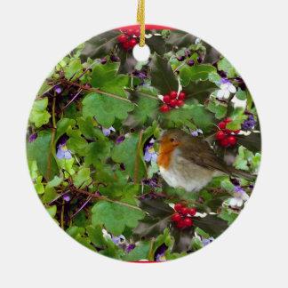 ヒイラギおよびキヅタ-クリスマスの装飾とのロビン セラミックオーナメント