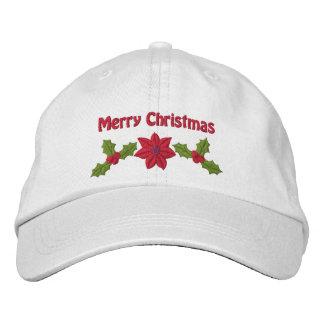 ヒイラギおよびポインセチアによって刺繍されるクリスマスの帽子 刺繍入りキャップ