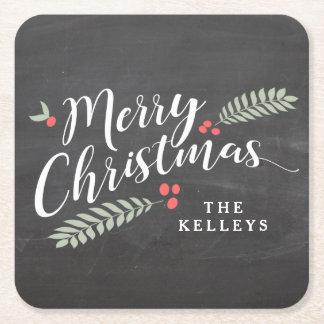 ヒイラギおよび名前入りな果実のメリークリスマス スクエアペーパーコースター