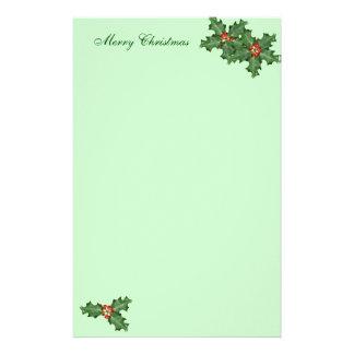 ヒイラギおよび果実のクリスマスの筆記用紙 便箋