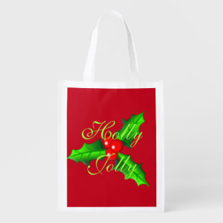 ヒイラギおよび果実のクリスマス エコバッグ