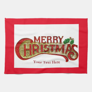 ヒイラギが付いているメリークリスマスの台所タオル キッチンタオル