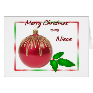 ヒイラギが付いているメリークリスマスの姪の赤および金ゴールドの球 カード