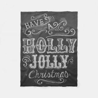 """""""ヒイラギすてきなクリスマス""""の黒板のフリースブランケット フリースブランケット"""