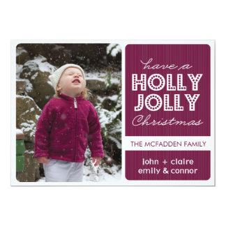 「ヒイラギすてきな」の(ラズベリー)休日の写真カード カード