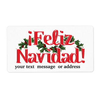 ヒイラギとのFeliz Navidad ラベル
