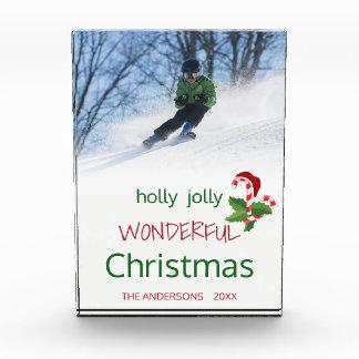 ヒイラギのすてきですばらしいクリスマスのモノグラム フォトブロック