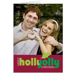 ヒイラギのすてきなクリスマスの写真の挨拶状を持って下さい カード