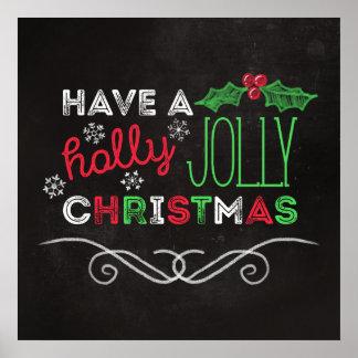 ヒイラギのすてきなクリスマスの素朴な黒板 ポスター